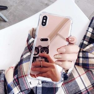 Rose Gold Mirrored Phone Case Cover iPhone X